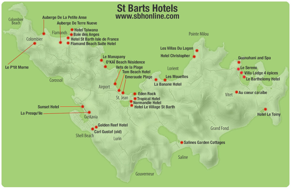 Map of St Barts Hotel Locations